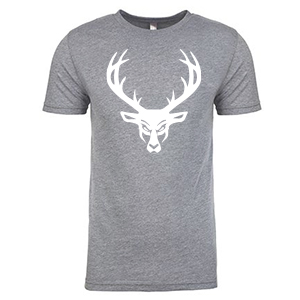 Mens Buck Tri-Blend Shirt - Gray: White Logo