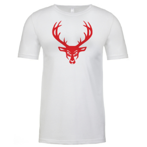Mens Buck Tri-Blend Shirt - White: Red Logo