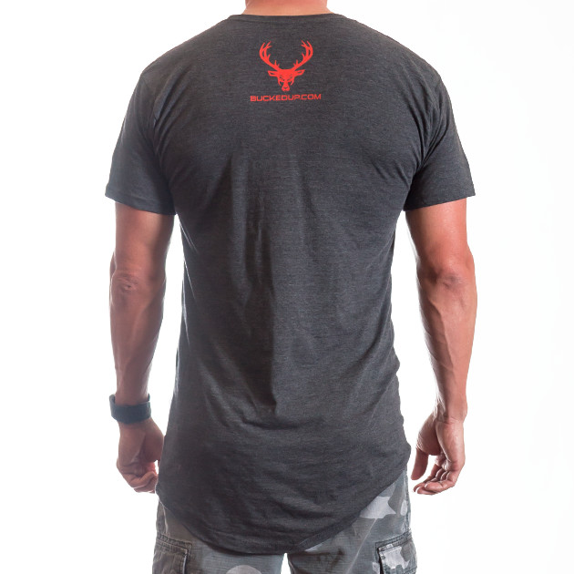 Mens Bucked Tall Tee Gray Red Logo