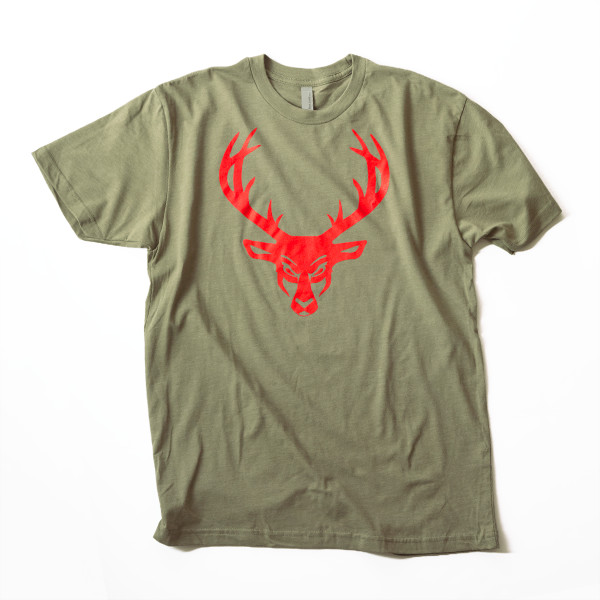 Military Green Red Logo Tee